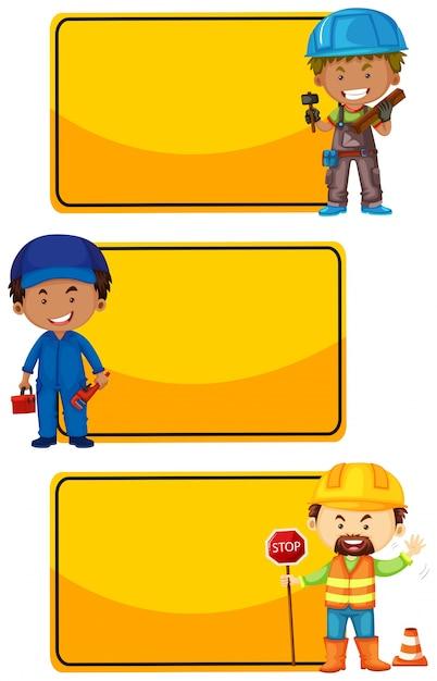 Sinais amarelos com trabalhadores da construção civil Vetor grátis