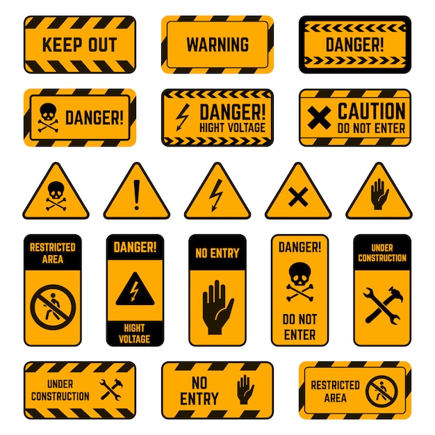 Sinais de advertência. perigo aviso fita amarela e preta, risco biológico de veneno listrado, conjunto de símbolos de elementos de perímetro de segurança de alta tensão. exclamação de segurança, ilustração de zona de eletricidade de atenção Vetor Premium