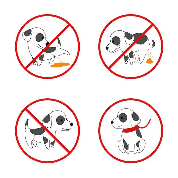 Sinais de cachorro. sem cachorro, sem cachorro mijando, sem cocô de cachorro. conjunto de sinais proibidos para animais. ilustração Vetor grátis