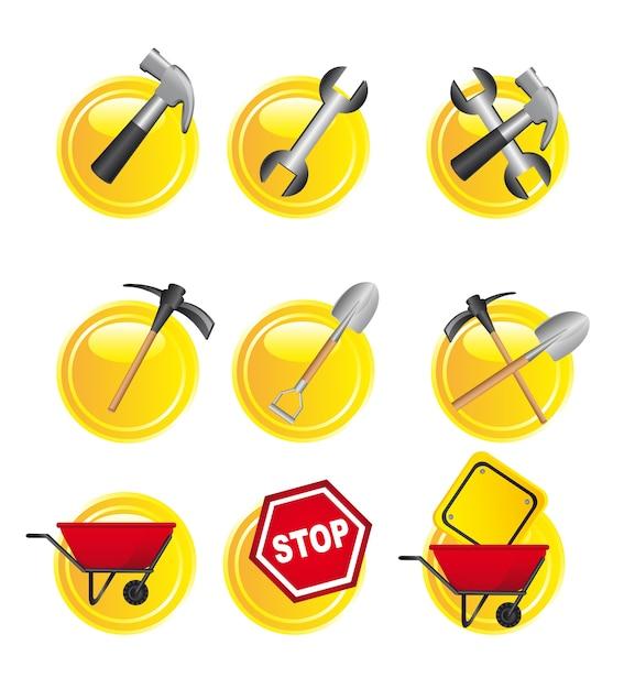 Sinais de construção amarelo sobre vetor de fundo branco Vetor Premium