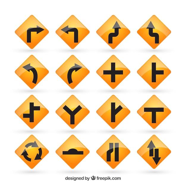 Sinais de estrada amarelos Vetor grátis