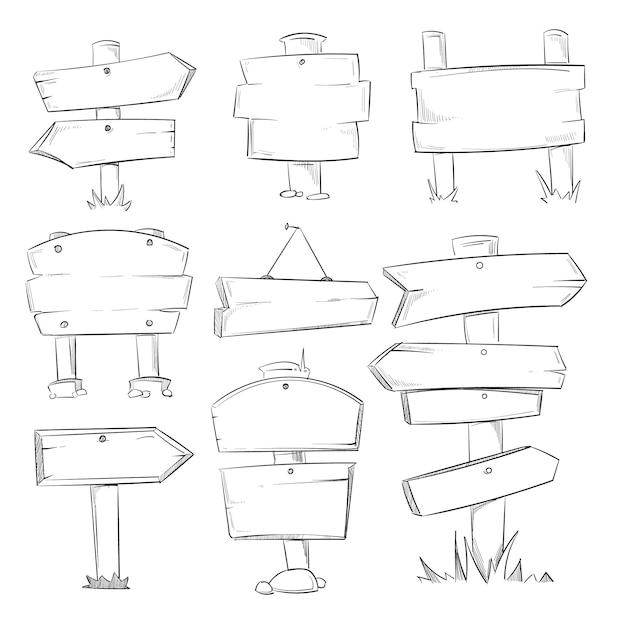 Sinais de madeira doodle, mão desenhada conjunto de setas de direção de madeira Vetor Premium
