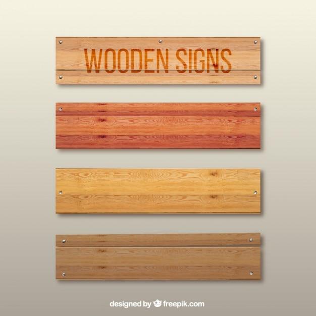 Sinais de madeira Vetor Premium