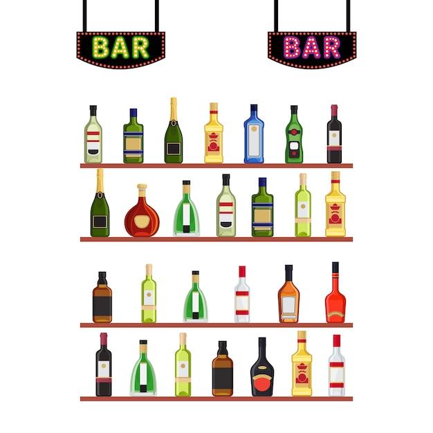 Sinais de néon bar e prateleiras com garrafas de álcool Vetor Premium