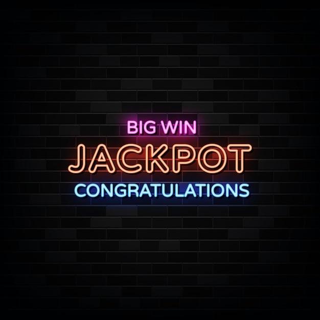 Sinais de néon do big win jackpot. Vetor Premium