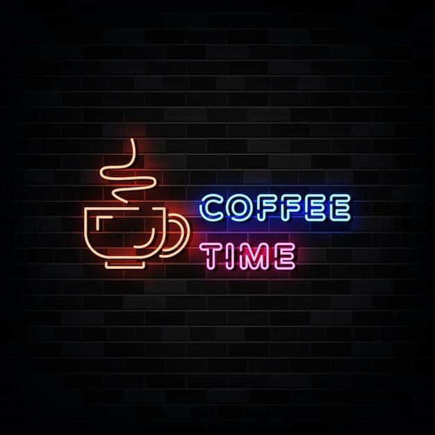 Sinais de néon para a hora do café Vetor Premium