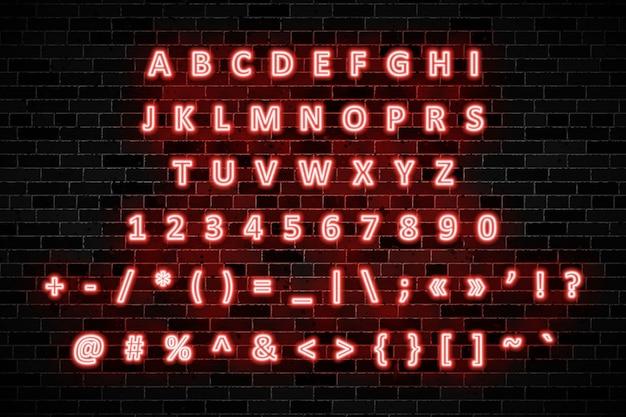 Sinais de néon vermelho letras maiúsculas, números e símbolos na parede de tijolo escuro Vetor Premium