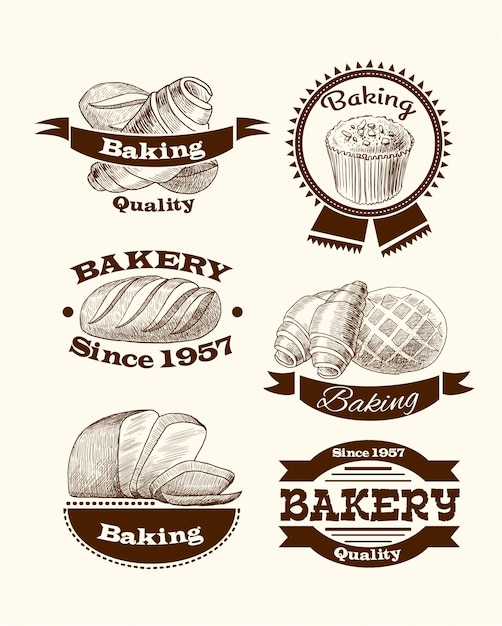 Sinais de pastelaria e pão Vetor grátis
