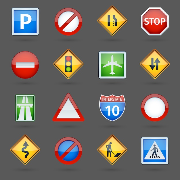 Sinais de tráfego rodoviário lustroso conjunto de ícones Vetor grátis