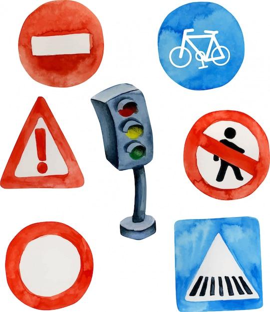 Sinais de trânsito em aquarela e coleção de semáforo Vetor Premium