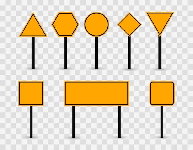 Sinais de trânsito em branco em amarelo. sinais de modelo em um fundo transparente. Vetor Premium