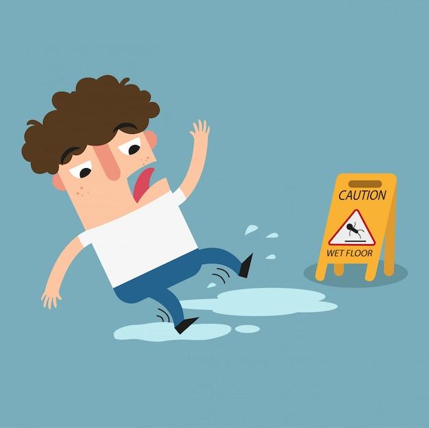 Sinal de advertência de piso molhado Vetor Premium