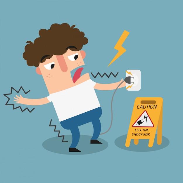 Sinal de advertência de risco de choque elétrico. Vetor Premium