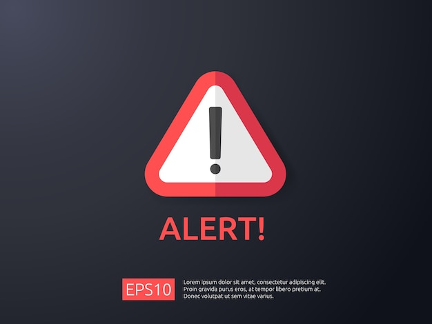 Sinal de alerta de aviso de atenção com ponto de exclamação Vetor Premium