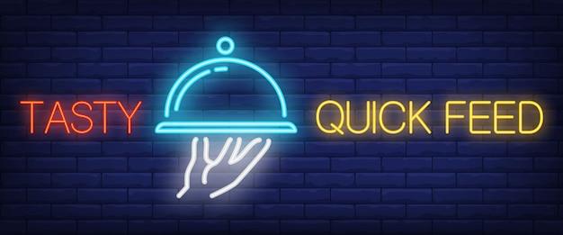 Sinal de alimentação rápida saborosa em estilo neon Vetor grátis
