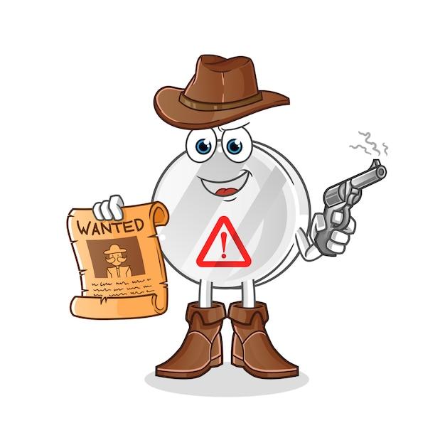 Sinal de aviso de cowboy segurando arma e ilustração de cartaz de procurado Vetor Premium