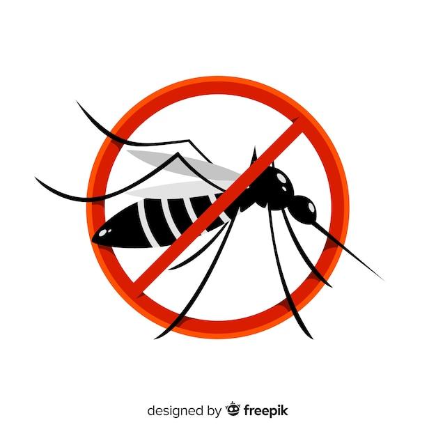Sinal de aviso de mosquito com design plano Vetor Premium
