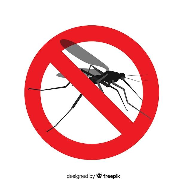 Sinal de aviso de mosquito com design plano Vetor grátis