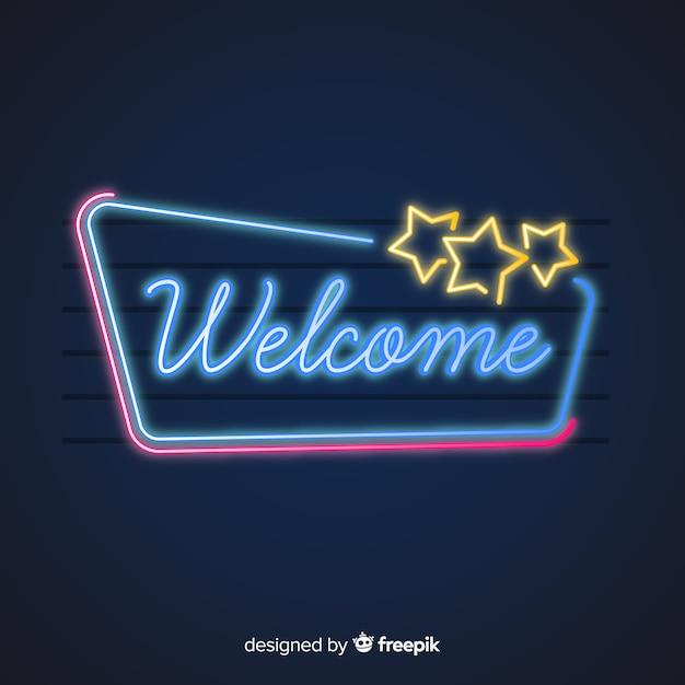 Sinal de boas-vindas moderno post com estilo de luz de néon Vetor grátis