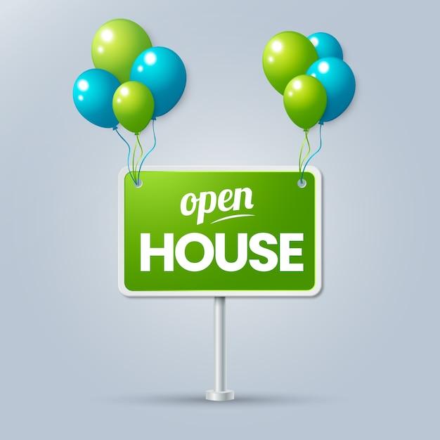 Sinal de casa aberta com balões Vetor grátis