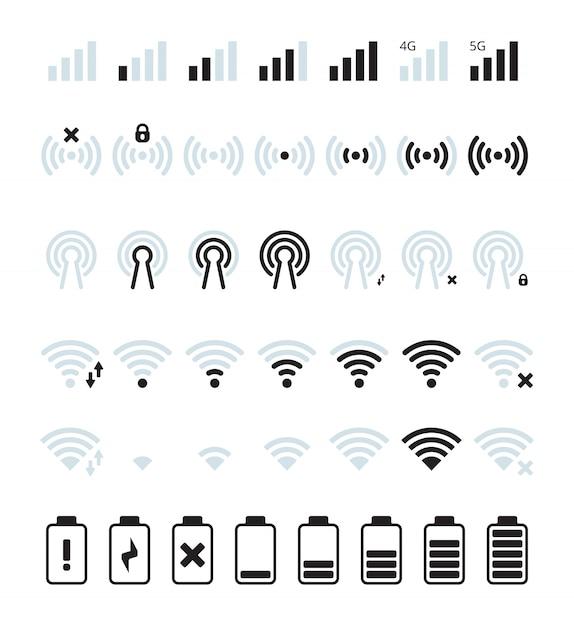 Sinal de celular do telefone. wifi e ícone de conexão da barra de status móvel imagens de nível de baterias gsm Vetor Premium
