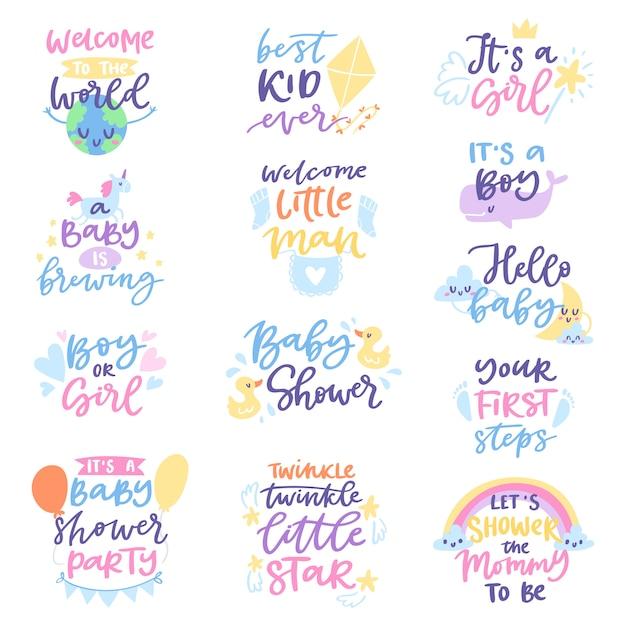 Sinal de chuveiro de bebê menino ou menina crianças recém-nascidas festa letras texto com letras de caligrafia ou fonte textual para ilustração de cartão de convite de babá para tipografia isolada no branco Vetor Premium