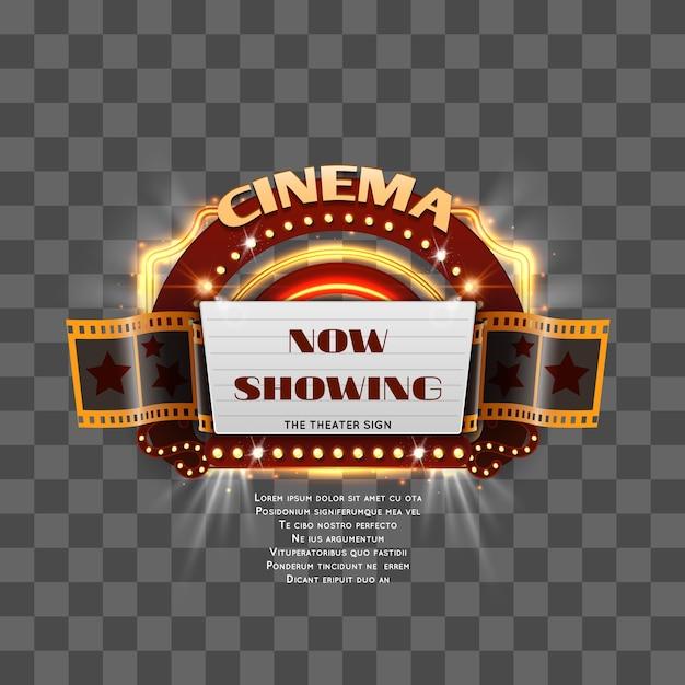 Sinal de cinema vintage mostrar tempo isolado Vetor Premium