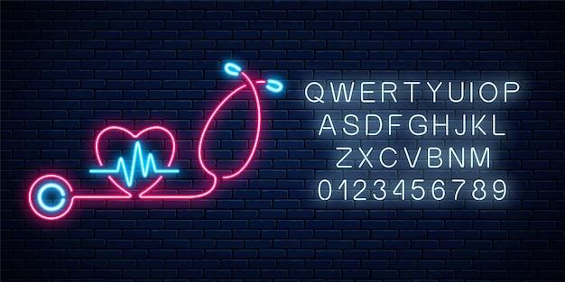 Sinal de conceito de medicina de néon brilhante com gráfico de eletrocardiograma em forma de coração e estetoscópio. letreiro luminoso de publicidade em farmácia ou hospital com alfabeto Vetor Premium