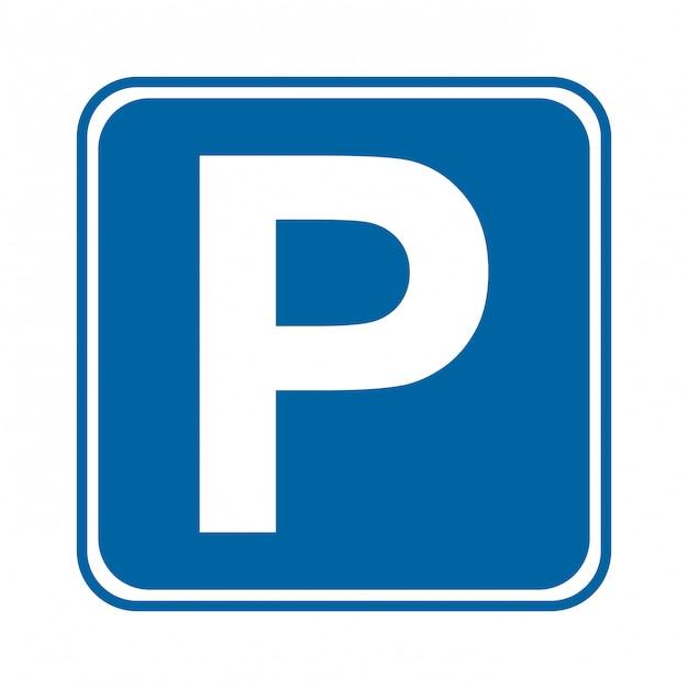 Sinal de estacionamento sobre ilustração vetorial de fundo branco Vetor Premium