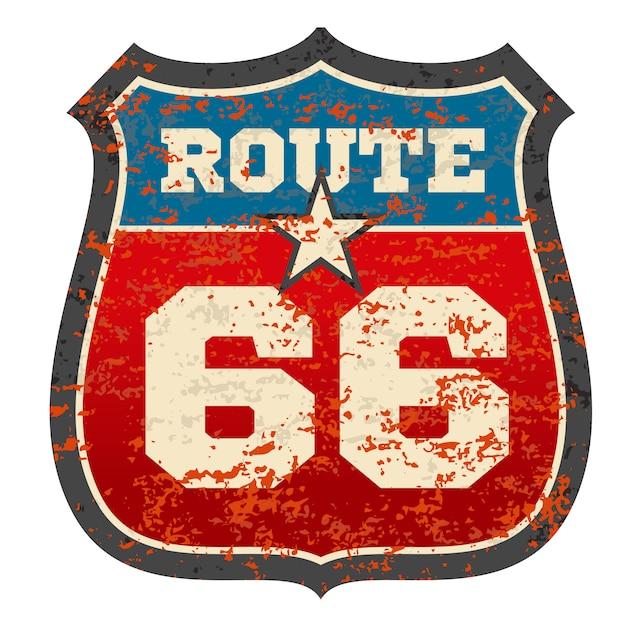 Sinal de estrada rota vintage 66 Vetor Premium