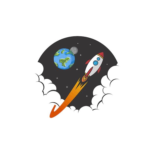 Sinal de exploração espacial nave navio logotipo ícone sinal vector Vetor Premium