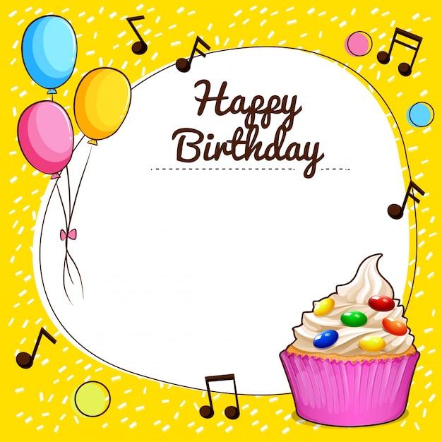 Sinal de feliz aniversario com ilustração de design de cupcake Vetor grátis