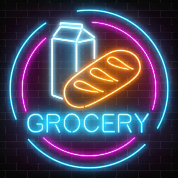 Sinal de incandescência da mercearia de néon em um fundo da parede de tijolo. tabuleta de loja de comida com pão e leite em um quadro de círculo. Vetor Premium