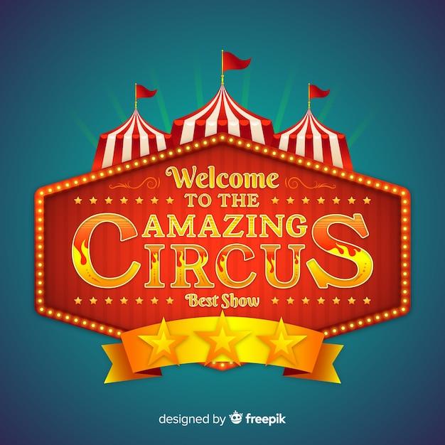Sinal de luz de circo vintage Vetor grátis