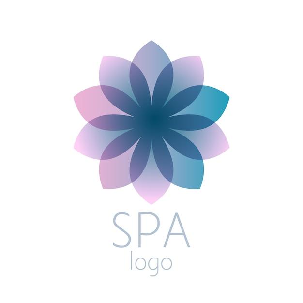 Sinal de modelo de logotipo linda flor abstrata turquesa. bom para spa, centro de ioga, salão de beleza, bem-estar e medicina s. Vetor Premium