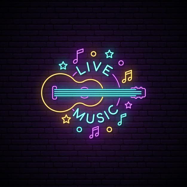 Sinal de música ao vivo de néon. Vetor Premium