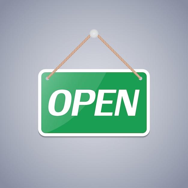 Sinal de negócio aberto Vetor Premium