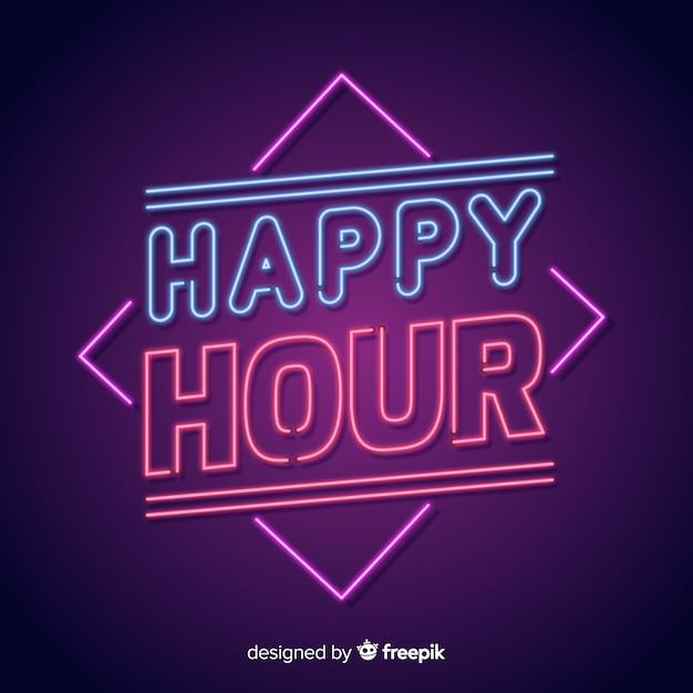 Sinal de néon brilhante happy-hour Vetor grátis