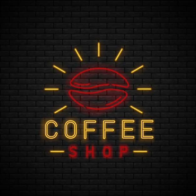 Sinal de néon café na parede de tijolo. hora do café Vetor Premium