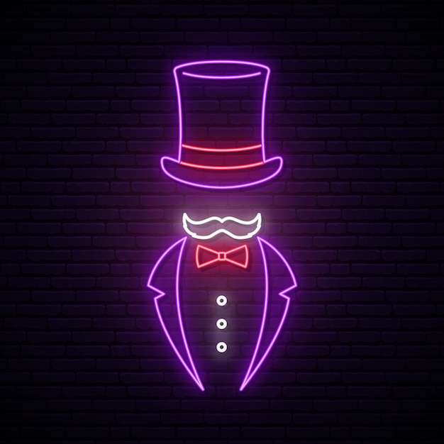 Sinal de néon cavalheiro. Vetor Premium