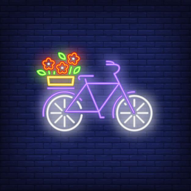 Sinal de néon da bicicleta da mola Vetor grátis