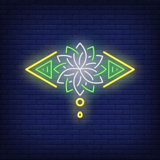 Sinal de néon da flor de lótus estilizado. meditação, espiritualidade, yoga. Vetor grátis