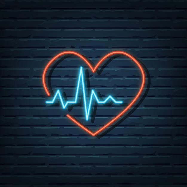 Sinal de néon da frequência cardíaca Vetor Premium