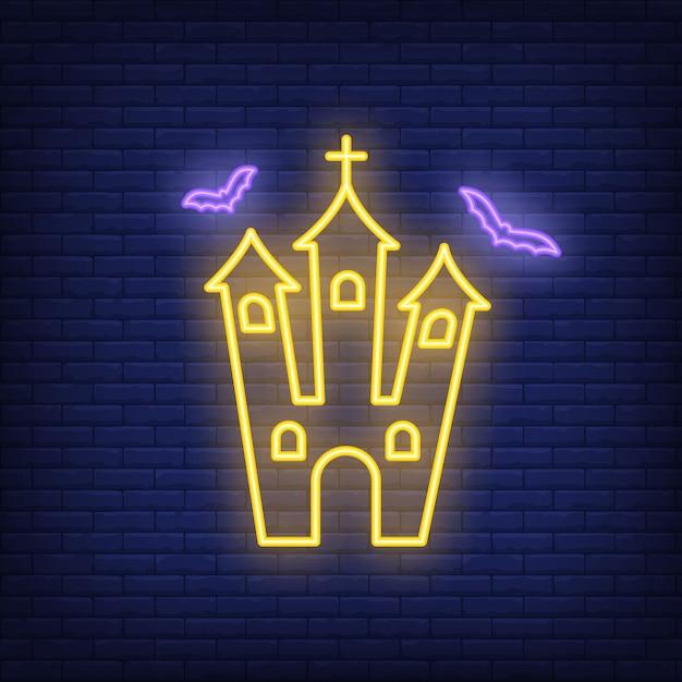 Sinal de néon da igreja assustador Vetor grátis