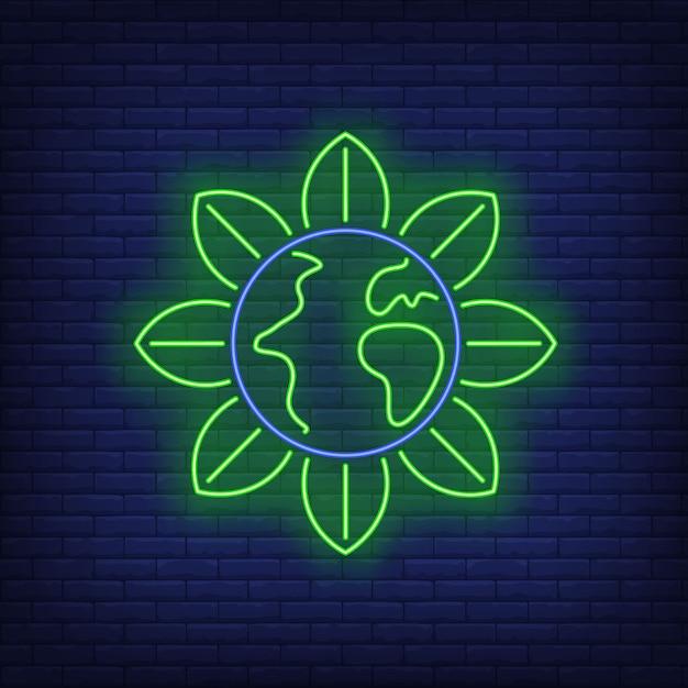 Sinal de néon da metáfora da flor do globo da terra. Vetor grátis