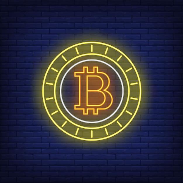 Sinal de néon da moeda cryptocurrency de bitcoin Vetor grátis