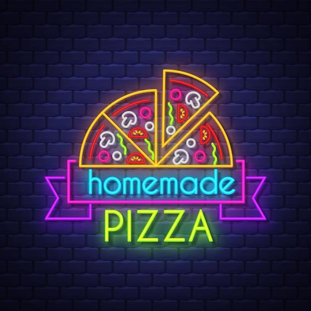 Sinal de néon da pizza caseira Vetor Premium