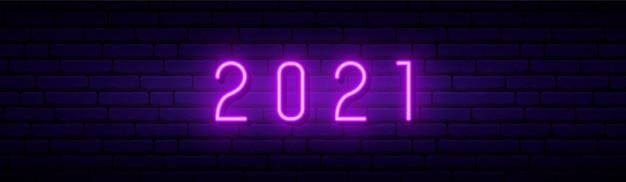 Sinal de néon de ano novo 2021. Vetor Premium