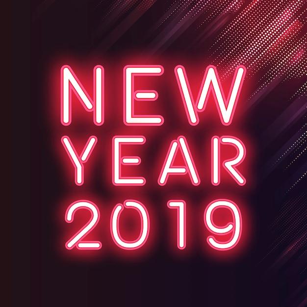 Sinal de néon de ano novo vermelho 2019 Vetor grátis