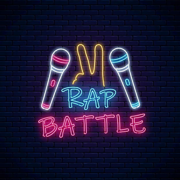 Sinal de néon de batalha de rap com dois microfones e gesto yo. Vetor Premium